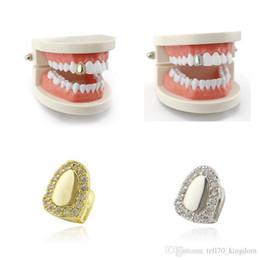 Gioielli del vampiro online-Oro argento strass Smoothy Denti Grillz con modello di cera Vampire Iced Out Gioielli Hip Hop gioielli in acciaio inossidabile