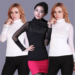 простые футболки с длинным рукавом Скидка Women Tshirt High Neck Bodysuit Ladies Plain Long Sleeves Lace Tops Black White Bottoming T-shirt 2019