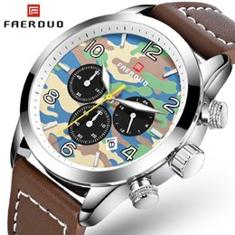 mens military army watch Promo Codes - FAERDUO Camouflage Army Watch Men Waterproof Military Sports Mens Watches Top Brand Luxury Leather Chronograph Watches Man Clock