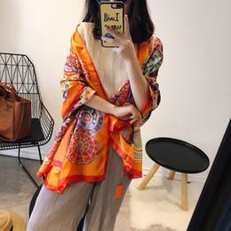Poncho di sciarpa di seta online-2019 Designer Sciarpa di seta a quadri Donna Stampa morbida Pashmina Foulard Femminile Maglia di avvolgimento Scialle di qualità Sjaal 180 * 90Cm