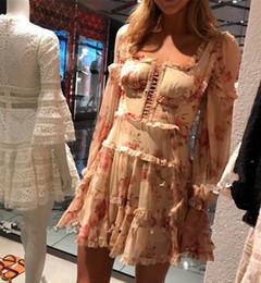 Primavera verão designer mulher vestido pista on-line-Runway Designer Vestido Mulheres Vinatge manga comprida Ruffles Floral Impresso Vestido Chiffon A Roupa Primavera Verão