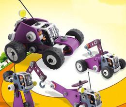 Ingegneri delle materie plastiche online-Il nuovo puzzle dei bambini 2019 in 4 in 1 plastica molle diy ha assemblato i giocattoli creativi dell'automobile di ingegneria del dado dei blocchetti di costruzione