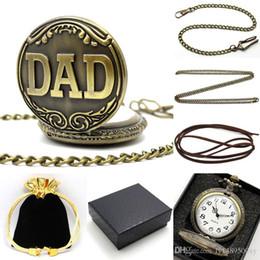 antike taschenuhr fobs Rabatt Retro Bronze Antique DAD Muster Quarz Taschenuhr mit Halskette Anhänger Fob Herrenuhr Vatertagsgeschenke Set mit Tasche Box Kette P38