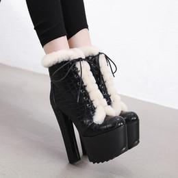 chunky block ferse schuhe Rabatt Hot Sale-2019 Frauen Ankle Fur Boots 16cm High Heels Fetisch Stripper Filz Warm Snow Plüsch Stiefel 7cm Plattform Blockabsatz Chunky Schuhe