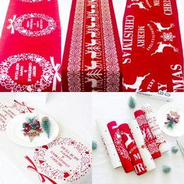 corredores de mesa impermeáveis Desconto Natal Algodão Toalha de Mesa Snowflake Elk Impresso toalha vermelha Branco Tabela dos desenhos animados Runner Xmas Decoração Casa desktop
