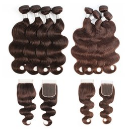 chocolate straight hair Promo Codes - Peruvian Body Wave Human Hair Bundles With Closure #2 #4 Chocolate Brown 3 or 4 Bundles with Lace Closure Remy Human Hair extensions