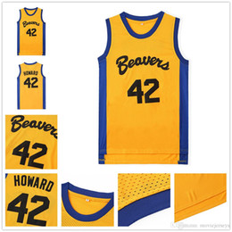 Logotipo de camisas de basquete on-line-Teen Wolf Nº 42 Scott Howard Moive Beacon Beavers Basketball Jersey Amarelo Americano do Filme de basquete camisas estaduais versão costurada logotipos S-XXL