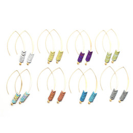 wedding arrow Coupons - Unique Design Colorful Ore Natural Stone Pendant Hook Dangle Earring for Women Girls Fashion Vintage Arrow Drop Earring Jewelry Gift