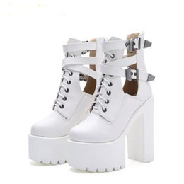 heel white punk Promo Codes - 2019 Fashion Women Gothic Boots Lace Up Ankle Boots Patchwork Platform Punk Shoes Ultra Very High Heel Bootie Block Chunky Heel