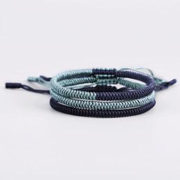 2019 estilo de moda joyería hecha a mano ajustable para hombre de alta calidad verde oscuro azul pulsera de la cuerda con el regalo libre desde fabricantes