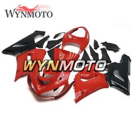 Carena per kawasaki red ninja zx6r online-Kit di carenatura completa per iniezione per moto nero lucido rosso Kawasaki ZX6R 05 06 ZX-6R Ninja 2005 2006 ZX6R 05 06 Carenatura per carrozzeria in plastica ABS