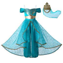 Costumi di halloween per ragazze ragazze online-Pettigirl Nuova lampada di Aladino Jasmine Princess Costume Cosplay Party Abbigliamento per bambini Ragazze Costumi tuta + Corona in pizzo dorato G-DMGD112-A265