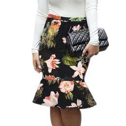a628c175d3 Venta caliente de Las Mujeres Falda Lápiz Con Cintura Alta Tight Falda de  Oficina Con Floral Impreso Moda Delgado Paquete Casual Hip Falda Trompeta  FS5332