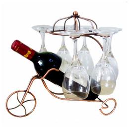 Exhibición de la botella de la barra online-Creativo Delicado Vino Tinto Botella Copas Titular Colgando boca abajo Copa Copas Exhibición Rack Moda Metal Home Bar Wine Holder