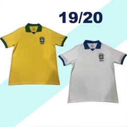 Бразильская желтая майка онлайн-Лучшие тайские качества Бразилия футбол Джерси 19 20 PAULINHO home желтый белый PELE D. COSTA G. JESUS 2019 Бразилия футбол рубашка
