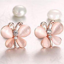 lo stile coreano di modo dell'orecchino all'ingrosso Sconti Monili di modo Simulato 1 paio di donne di lusso imitazione opale orecchini farfalla orecchini orecchio stile coreano all'ingrosso F1