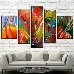 Pop art colorido on-line-Hand Made Pintura A Óleo Sobre Tela zebra colorido da arte da Pintura Moderna pop Arte Da Parede Da Lona Sala de estar Decoração cavalo imagem