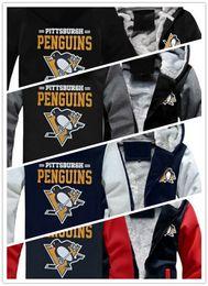 2019 logotipo do pinguim 2019 inverno hoody pittsburgh pinguins equipe logotipo impresso Homens mulheres Engrossar Hoodies outono cashmere roupas camisolas Zipper jaquetas com capuz logotipo do pinguim barato