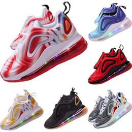 Niños llevaron zapatos online-2.019 niños de punto tejido transpirable zapatos corrientes de los niños Todo Zoom Air empotrados en los zapatos de iluminación LED para deportes