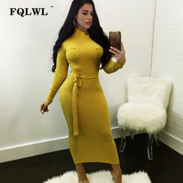 2bfac063ae FQLWL Bandage Knitted Sweater Dress Women Turtleneck Ribbed Long Sleeve  Maxi Dress Sashes Spring Ladies Casual Bodycon Dresses ankle length sweater  dresses ...