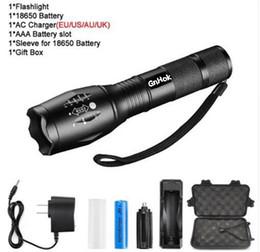 Antorchas grandes online-Gran promoción Ultra brillante CREE XM-L T6 / L2 LED linterna 5 modos 4000 y 8000 lúmenes Zoomable LED Torch 18650 batería + cargador