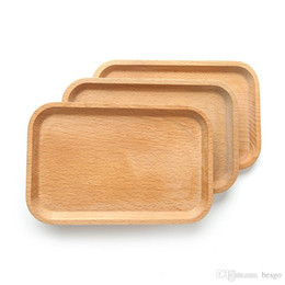 wood plates Promo Codes - Square Fruits Platter Dish Wooden Plate Dish Dessert Biscuits Plate Dish Tea Server Tray Wood Cup Holder Bowl Pad Tableware Tray BC BH1574