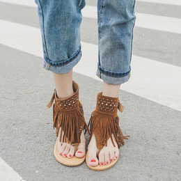 sandalias planas borla marrón Rebajas Sandalias de verano de la borla chanclas Rhinestone zapato talón plano luz transpirable portátil mujeres negro marrón ventas calientes 29hm C1
