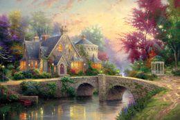 Hd pinturas florales online-Thomas Kincaid pequeño puente y el agua que fluye 1-23 pinturas de impresión de aceite pintado a mano de la decoración del hogar de alta definición en la lona Wall Art 191,113 Fotos