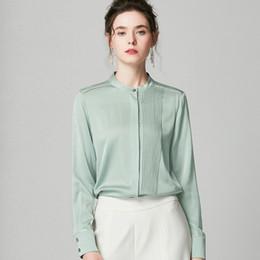 Pipa blusa online-100% puro camisas de las mujeres de seda o cuello plisado de tuberías mangas largas camiseta top de la blusa elegante