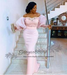 Off ombro frisado vestidos de noite de renda on-line-vestidos de noite reais nigerianos rendas de manga longa fora do ombro Puff manga elegantes de contas africanos árabe celebridades formal do partido prom vestidos