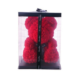 steli artificiali bacche rosse Sconti Nuovo 25cm Confezione regalo Orsacchiotto Fiore rosa Decorazione natalizia Matrimonio San Valentino Regala una fidanzata Gif
