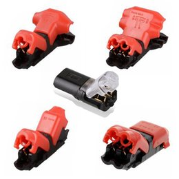 Empalmes de cables eléctricos online-D1 D2 H2 T1 T2 Conector de cableado de cable de empalme rápido para AWG24-18 1Pin 2Pin Tira de LED Cable de cable Bloques de terminales de crimpado eléctrico Conductor