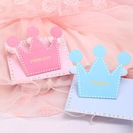 2019 convites partido rosa Princesa do príncipe coroa em forma de cartão de convite de festa de aniversário cor azul rosa cartões com Envelope desconto convites partido rosa