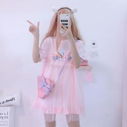 Vestidos de verano de Lolita 2019 Conejo Kawaii Japonés Lindo Anime de manga corta Vestido blanco rosado Vestido ocasional de la camiseta Ropa femenina Y19051001 desde fabricantes