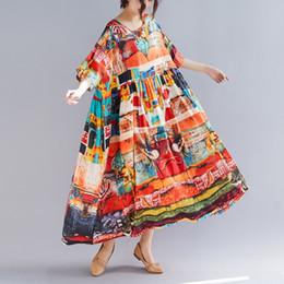 novos vestidos de algodão maxi Desconto Nova Primavera Verão Oversize Bohemia Vestidos Casuais Mulheres Multi Color Imprimir Cintura Alta Algodão De Linho Vestido Longo