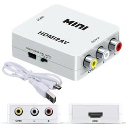 hdmi hdtv vga rca kabel Rabatt 1080P Mini HDMI zu VGA zu RCA AV Composite Adapter Konverter mit 3,5 mm Audiokabel VGA2AV / CVBS + Audio zu PC HDTV Konverter
