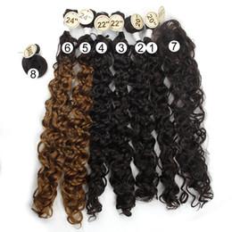 2019 trame de cheveux bohème 8pcs / pack Jerry Curl curl synthétique Bohème curl 6 Bundles avec fermeture et Bang 20