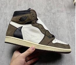 Originale alta 1 Travis Scott 1S TS SP 3M Cactus Jack scuro Mocha uomini scarpe da basket scarpe da ginnastica spedizione gratuita normale da