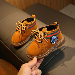 2019 zapatos de bebe talla 4.5 Los niños calientes de los zapatos de bebé botas antideslizantes Zapatos cómodos muchachas de los muchachos del niño de los niños baratos Rojo + negro + marrón Tamaño 16-20 zapatos de bebe talla 4.5 baratos