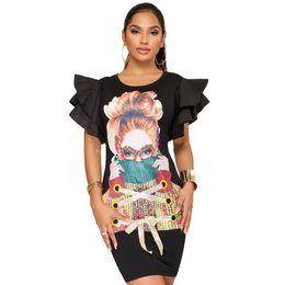 Polsini colorati camicie casual online-Casual Large Size Donne Stampa 3D T Shirt Dress Hip Dress polsini cinghie Flounces Petal Sleeve K9132 Colore nero Taglia S-XXL