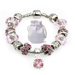 nylon anker armband großhandel Rabatt Silber Kette Fit Pandora Logo Armbänder Frauen Rosa Murano Glas Kristall Perlen Armbänder Diamant Perlen Anhänger Armreif Schmuck Party Geschenk P73