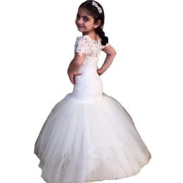 Canada Robes blanches de fille de fleur pour des mariages sirène robes de bal d'enfants de partie supplier kid dresses for prom white Offre