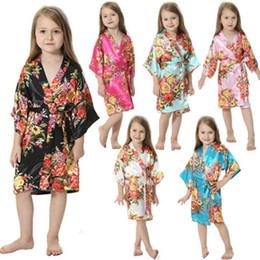 2019 pijamas de colarinho Criança Crianças Bebés Meninas Pijamas Kid Silk Floral Cotton Collared Sleepwear pijamas de colarinho barato