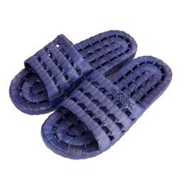 2019 pisos zapatillas de plastico 1 par unisex PVC plana Inicio Bañera Zapatillas de verano sandalias de plástico antideslizante zapatos al aire libre de interior zapatillas para hombres de las mujeres pisos zapatillas de plastico baratos