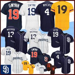 Camisetas de tony gwynn online-13 Manny Machado Azul marino jerseys del béisbol de San Diego Padres 19 Tony Gwynn 4 Wil Meyers blanca baja fresca En Stock M-XXXL Top