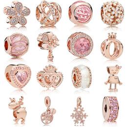 Fit Pandora s925 Gümüş Bilezik Pembe Emaye Manolya Kristal Dangle Avrupa Charms Charm Boncuk Moda Için Boncuk Charms nereden gümüş telkari kalp tedarikçiler