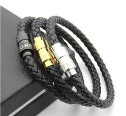 Neue Ankunft Lederarmbänder Gewebt Antike herren schwarz Charme Armbänder Pulseira Masculina Magnet Mann armreifen modeschmuck von Fabrikanten