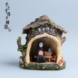 Figurine anime online-Hayao Miyazaki Spirited Away Kaonashi Resina Figurine Giocattoli Per Bambini Giappone Anime Studio Ghibli Senza Faccia Led Modello di Luce Action Figure