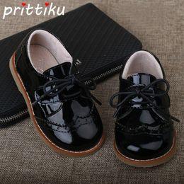 Маленькое черное платье для девочек-малышей онлайн-2018 Baby Toddler Boy Girl Full Grain Leather Oxfords Little Kid Lace Up Children  Fashion Shiny Black Formal Dress Shoes
