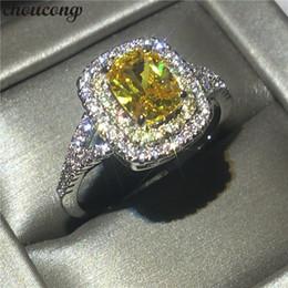 Bagues pour anniversaire de mariage en Ligne-choucong Carrière De Mariage Anneau Anneau 1ct Jaune Diamant 925 argent Bague De Mariage Anneaux Pour Les Femmes bijoux Cadeau
